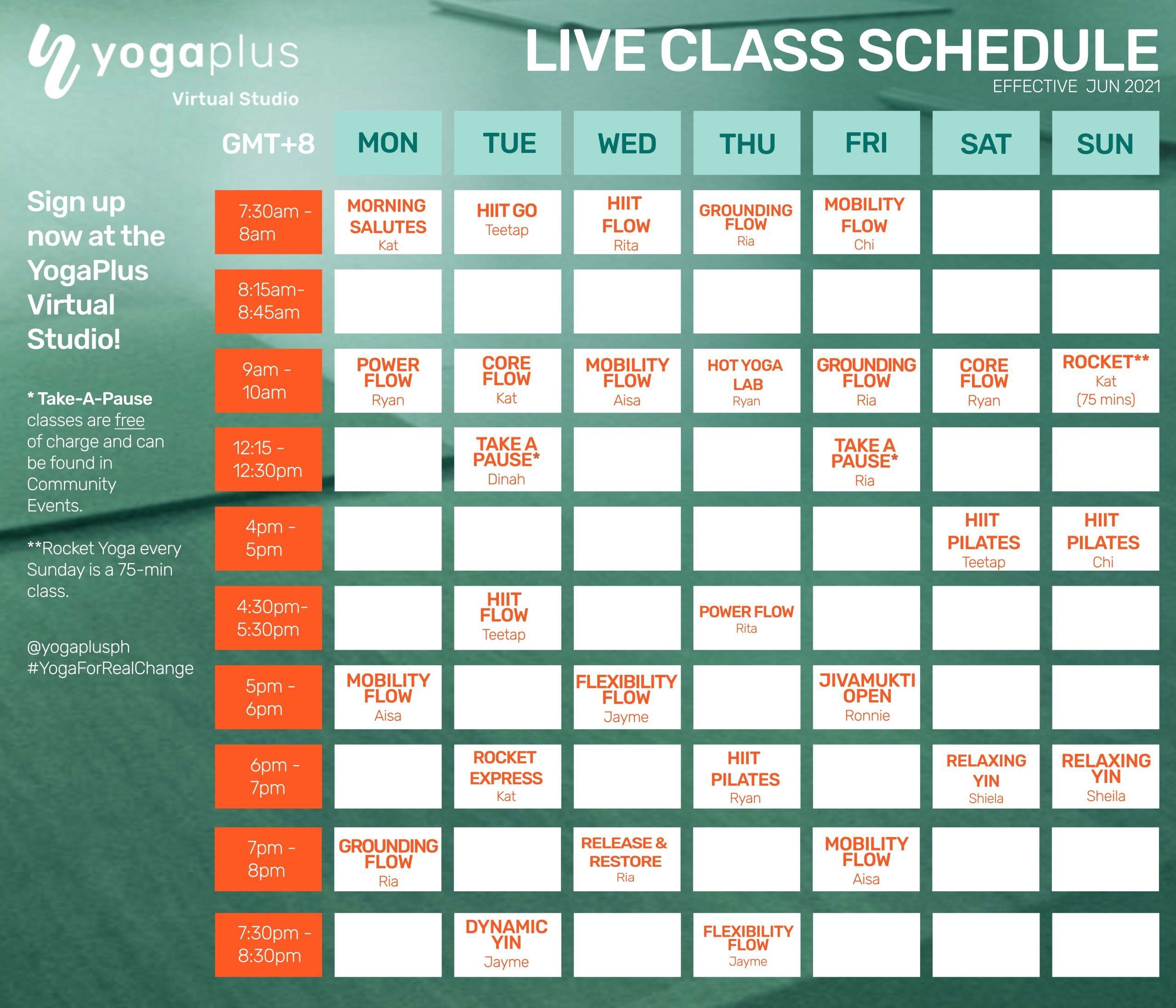 live class schedule